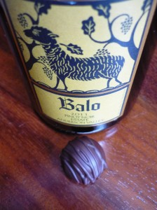 Bottle of red wine with single chocolate truffle