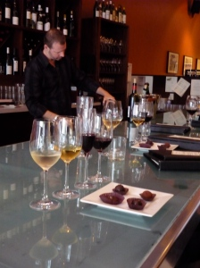 Nectar's pairing of 4 glasses of wine with 4 dark chocolates on the bar